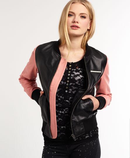 Superdry Saint Leather Baseball Jacket - Women's Leathers