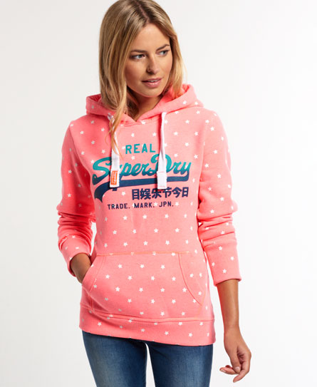 superdry vintage logo all over print hoodie damen hoodies. Black Bedroom Furniture Sets. Home Design Ideas