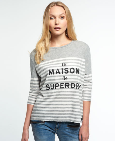 dark ice marl/white Superdry Nordic Breton T-Shirt