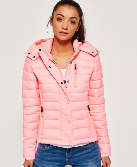 Superdry Veste slim à capuche et double zip Fuji. Rose