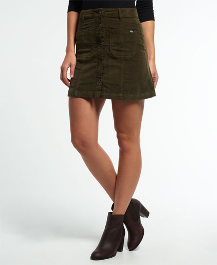 khaki Superdry A-Line Skirt