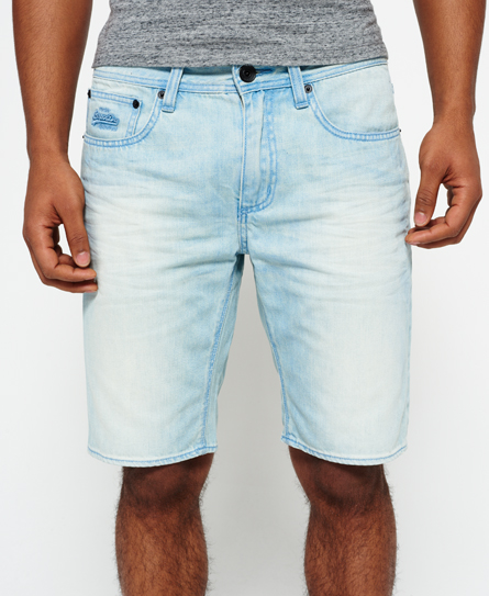 ice blue Superdry Officer Slim Denim Shorts