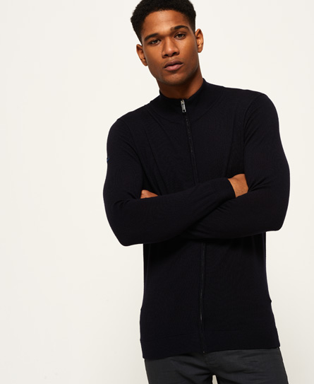 Superdry Call Sheet Merino Henley Track top met rits