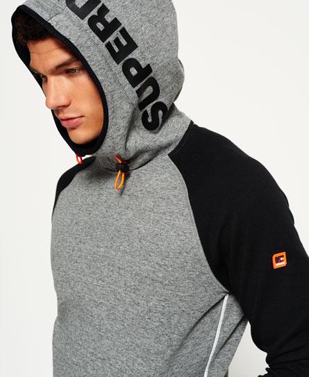 斑点炭黑色/黑色 Superdry Gym Tech插肩袖连帽卫衣