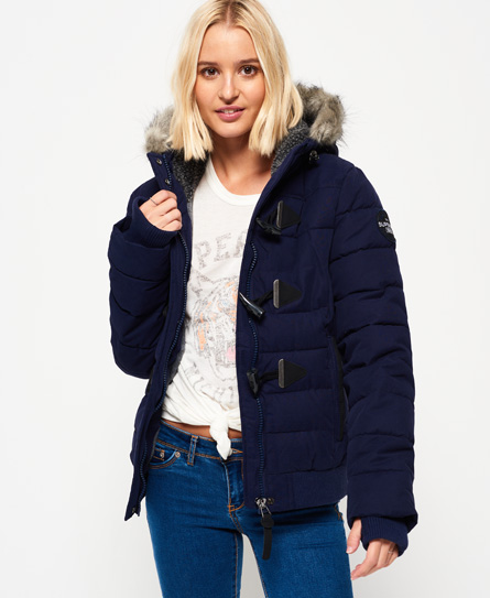 navy Superdry Microfibre Toggle Puffle Jacket