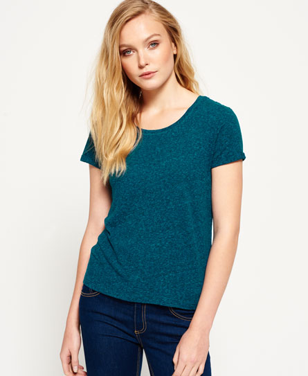 blackened teal Superdry Super Sewn Rugged Lace T-Shirt