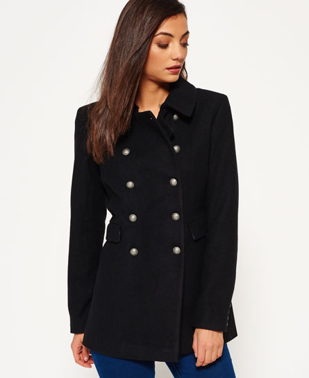 Superdry Military Pea Coat Black - Womens - Military Pea Coat In Black Superdry