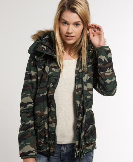 womens arctic fur windcheater in camo black superdry. Black Bedroom Furniture Sets. Home Design Ideas