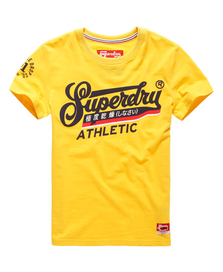 mens double drop athletic t shirt in yellow superdry. Black Bedroom Furniture Sets. Home Design Ideas