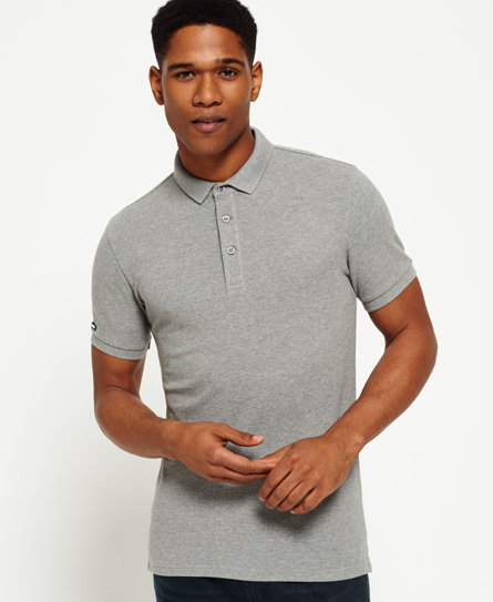 granite grey snowy Superdry City Pique Polo Shirt