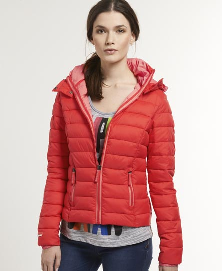womens fuji hooded jacket in coral superdry. Black Bedroom Furniture Sets. Home Design Ideas