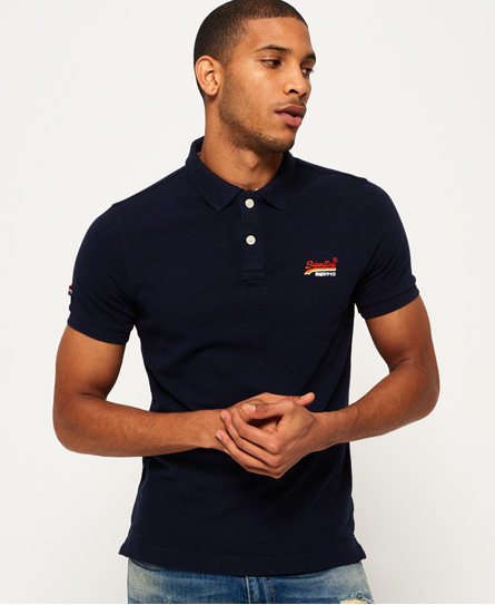 eclipse navy marl Superdry Classic Cali Pique Polo Shirt