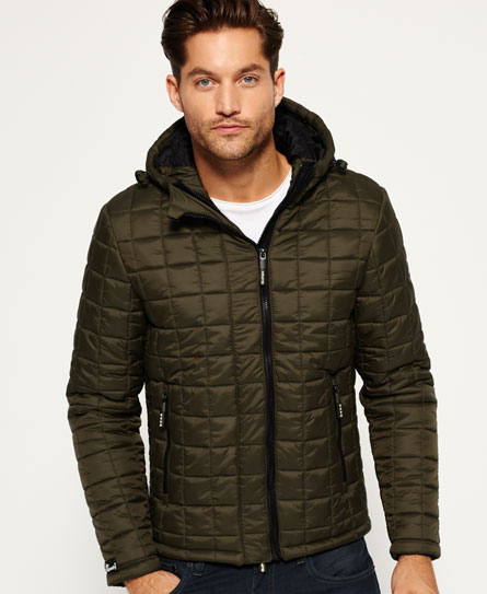 Mens Box Quilt Fuji Jacket In Army Superdry