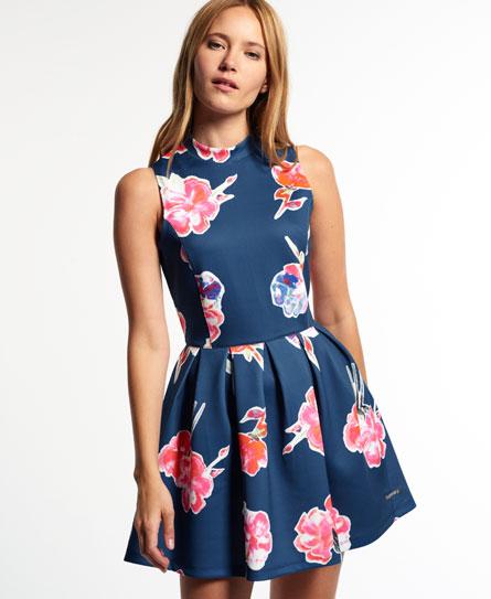 watercolour collage navy Superdry Premium Scuba Dress