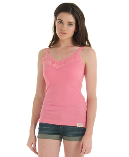 Superdry Lace Rib Vest Top Pink
