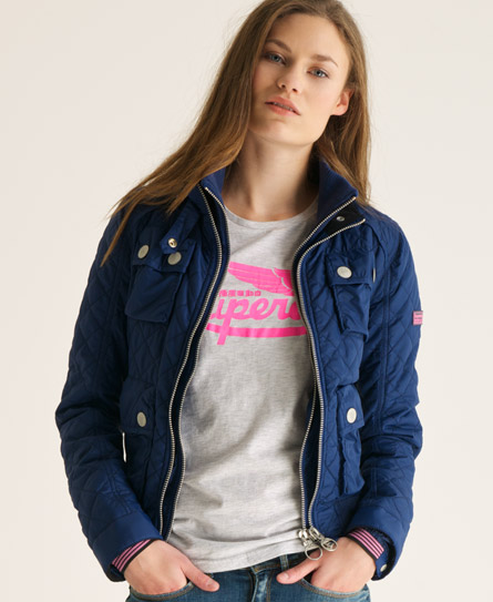Superdry Quilted Bomber Jacket Blue - Superdry Quilted Bomber Jacket - Women's Jackets & Coats