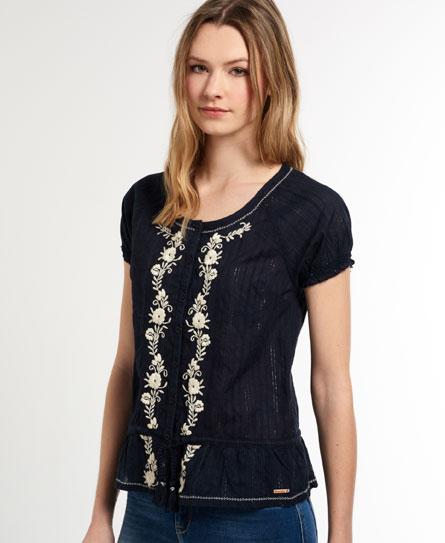 dunkel marineblau Superdry Folk Embroidery Bluse