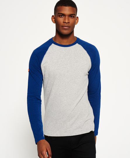 dove grey jaspe Superdry Orange Label Grit Baseball T-shirt