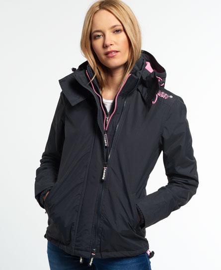 Ladies Superdry Pop Zip Hooded Arctic Windcheater in Dark Charcoal / Pale Fluro Pink