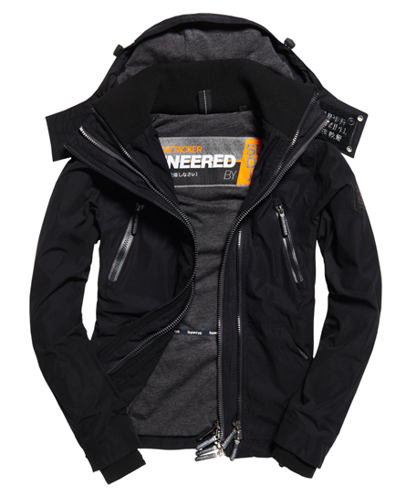 negro intenso Superdry Chaqueta de microfibra con capucha SD-Wind Attacker