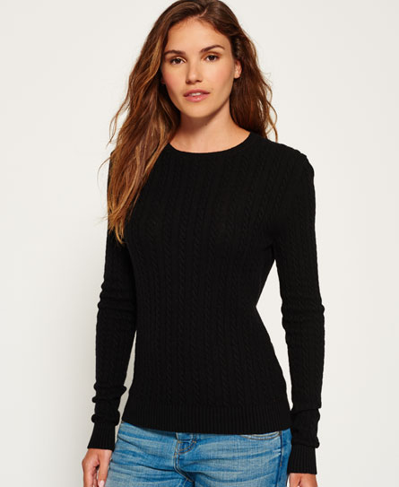 black Superdry Luxe Mini Cable Jumper