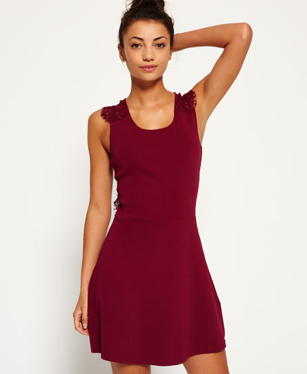 cranberry Superdry Alina Lace Strickkleid
