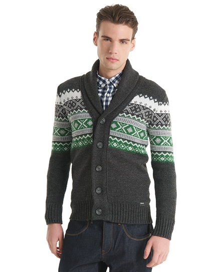 Superdry Oslo Cardigan Dark Grey