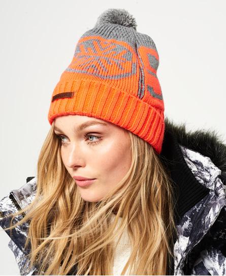 gris/corail fluo Superdry Bonnet logo Snow