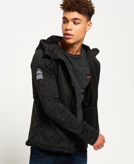gritty black Superdry Storm Double Zip Hoodie