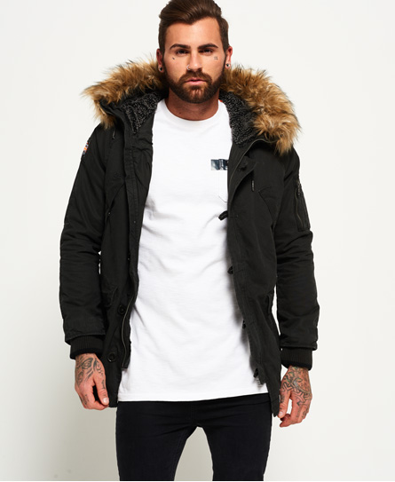 Mens - Rookie Heavy Weather Parka Jacket in Bitter Black | Superdry