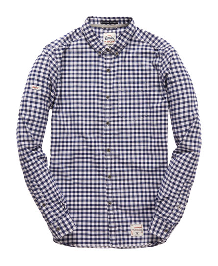 Mens oxford shirt in premium blue gingham superdry for Mens blue gingham shirt