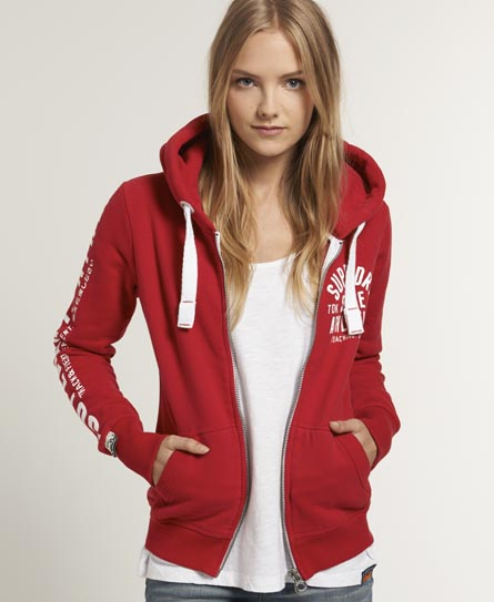 Superdry Track & Field Zip Hoodie Red
