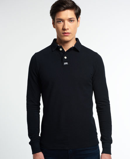 Mens classic long sleeve pique polo shirt in black for Mens long sleeve pique polo shirts