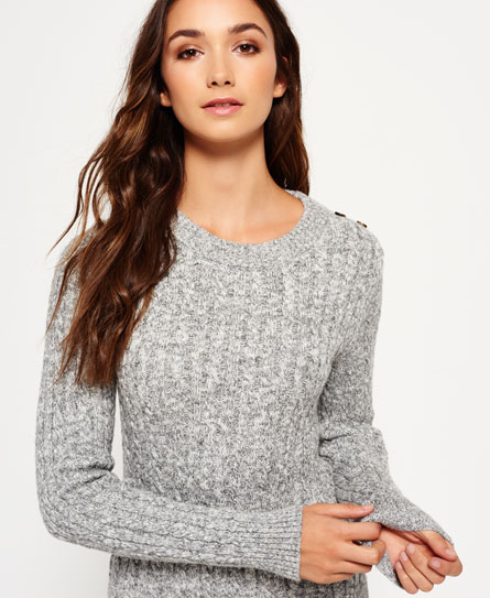 grey twist Superdry Croyde Twist Cable Crew Neck Jumper