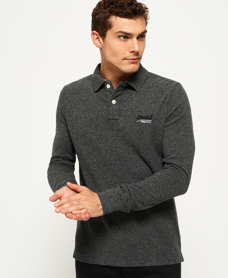 cinder grey grindle Superdry Classic Long Sleeve Pique Polo Shirt