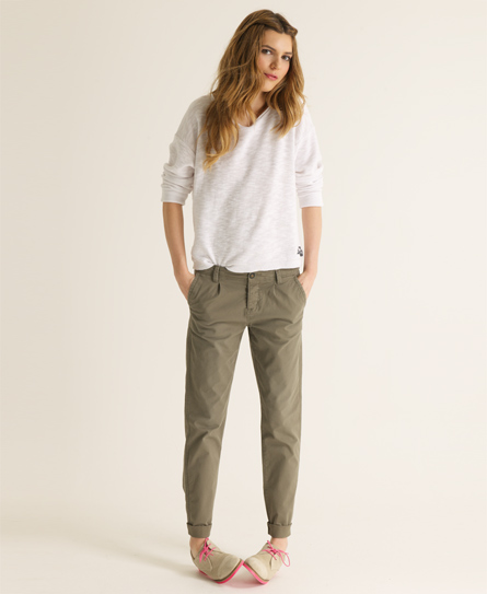 Womens - Classic Chinos in Battle Green | Superdry