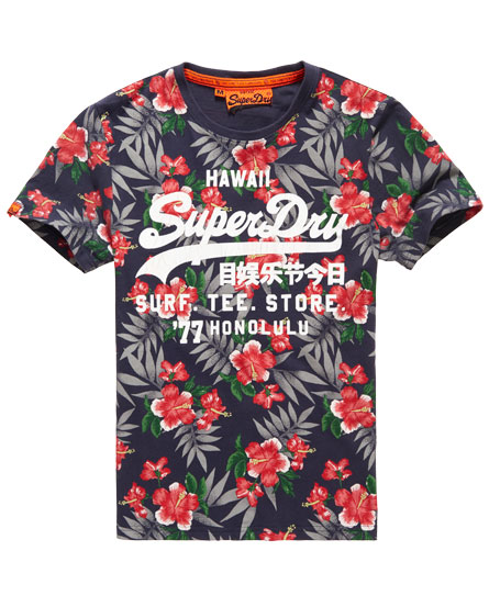 Mens shirt shop surf t shirt in hibiscus french navy for Surf shop tee shirts