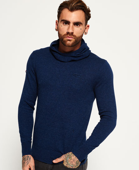 dull navy Superdry Orange Label Knit Hoodie