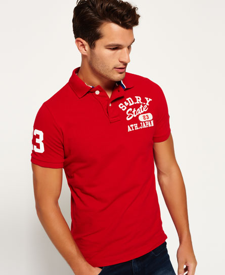college-rot Superdry Super State Piqué Polo-Shirt