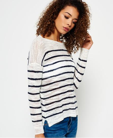 cream/navy stripe Superdry Rio Slub Pocket Knitted Top