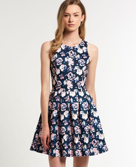 Superdry High Neck Scuba Print Dress Navy