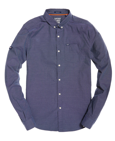 Mens Pinpoint Oxford Shirt In Oil Blue Superdry