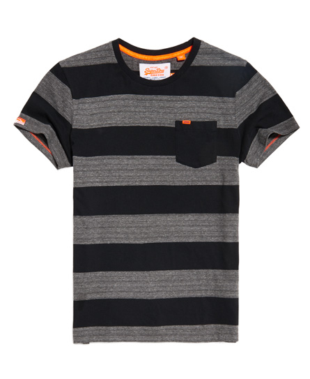 Superdry Superdry Orange Label stribet T-Shirt med lomme.