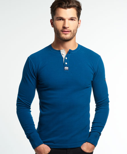 blue bottle Superdry Heritage Grandad Top
