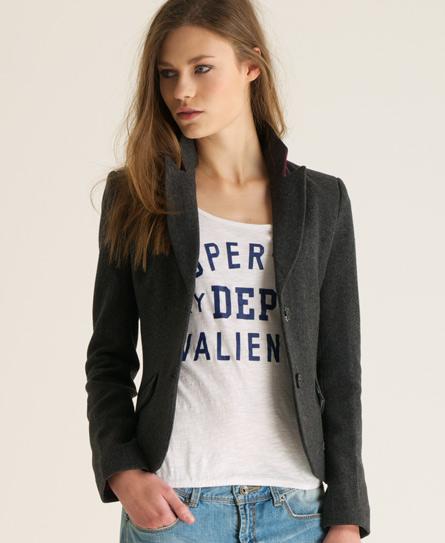 Superdry Brook Tweed Blazer Dark Grey