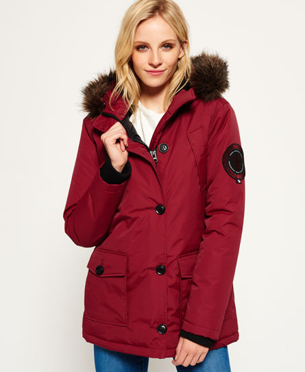 Womens - Everest Parka Jacket in Wine Red | Superdry