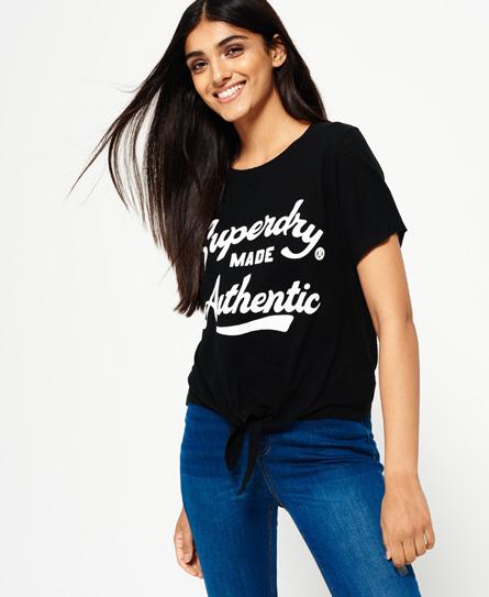 noir chiné bonjour Superdry T-shirt noué à l'avant Made Authentic