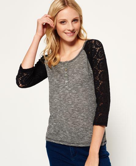 charcoal twist Superdry Slub Twist Jersey Lace Grandad-Shirt