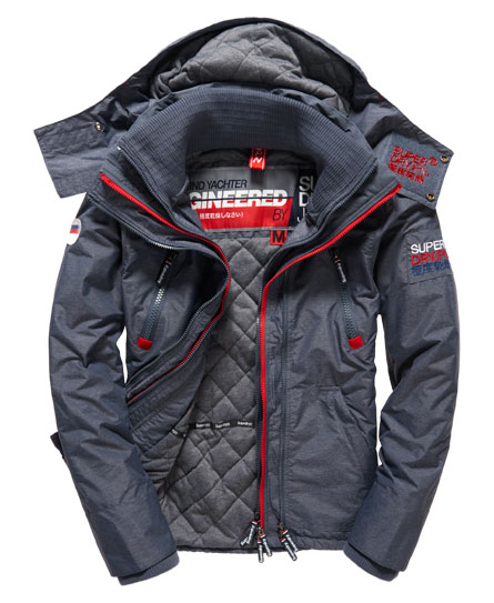 Superdry Wind Yachter Mens Jacket in Charcoal / Rebel Red / White