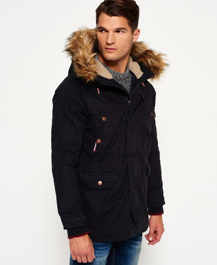 mens rookie heavy weather parka jacket in midnight superdry. Black Bedroom Furniture Sets. Home Design Ideas